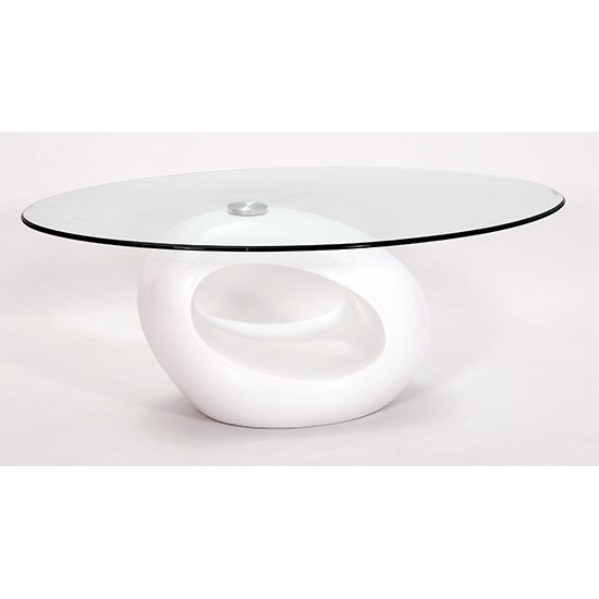 Lupi Clear Fibre Glass Coffee Table With White Base