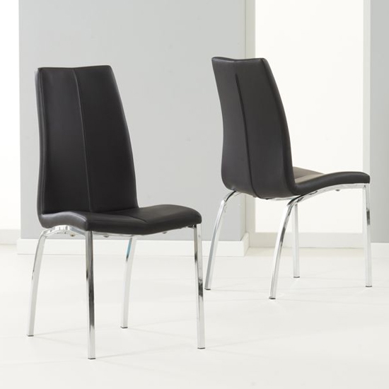 Lupus Black Leather Dining Chairs In Pair
