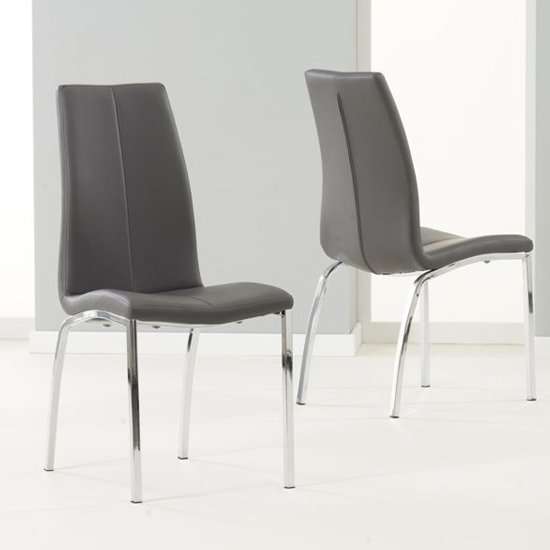 Lupus Grey Leather Dining Chairs In Pair