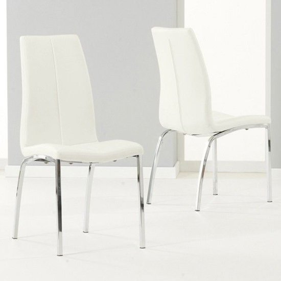 Lupus White Leather Dining Chairs In Pair