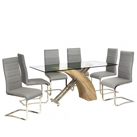 Luther Glass Dining Table With Oak Effect And Chrome 6 Chairs