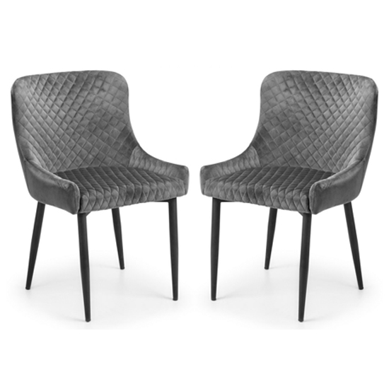 Luxe Grey Velvet Dining Chair In Pair