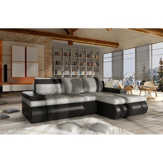 Luxemburg Modern Corner Sofa Bed In Black And Grey