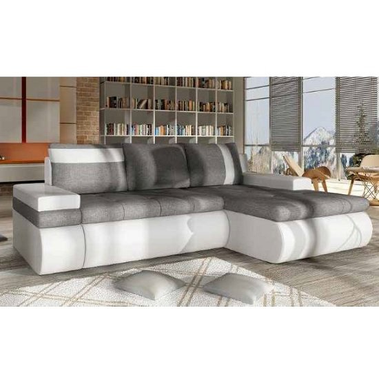 Luxemburg Modern Corner Sofa Bed In White And Grey