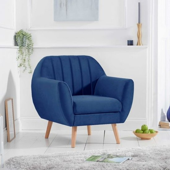 Luxen Velvet Upholstered Armchair In Blue