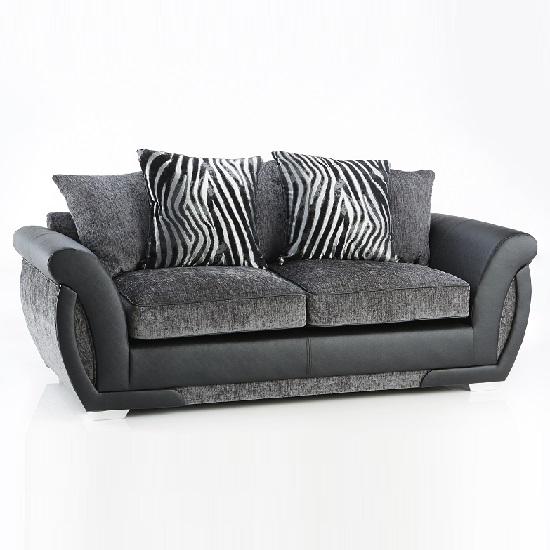 Luxor 3 Seater Sofa In Black PU And Grey Fabric