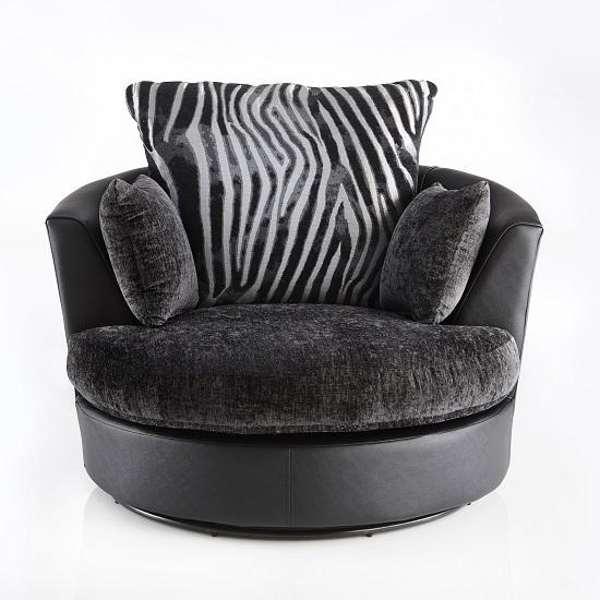Luxor Swivel Sofa Chair In Black Pu And Grey Fabric 2