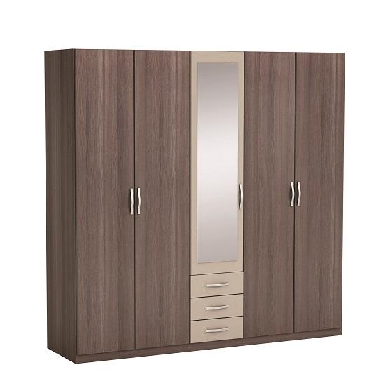 Luxor Mirror Wardrobe In Vulcano Oak And Basalt With 5 Doors