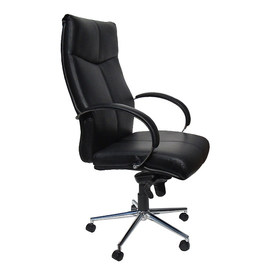 Luxury Home Office Chair In Black Faux Leather With Castors
