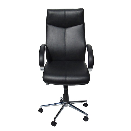 Luxury home office chair in black faux leather with castors for Home office chairs leather