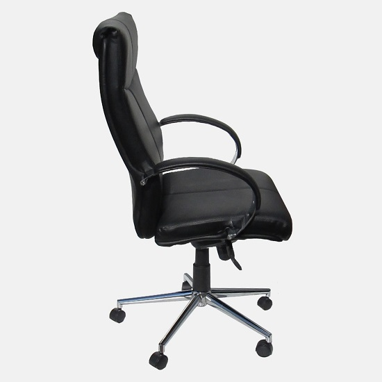 office chair side. Interesting Office Luxury Home Office Chair In Grey Faux Leather With Castors_5 And Side