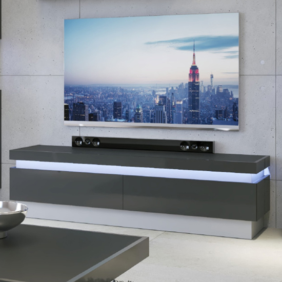 Lyco LED Wooden 2 Drawers TV Stand In Platinum Light Grey Gloss