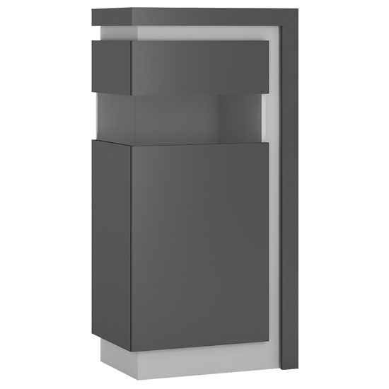Lyco LED Wooden Left Handed Low Display Cabinet In Grey Gloss