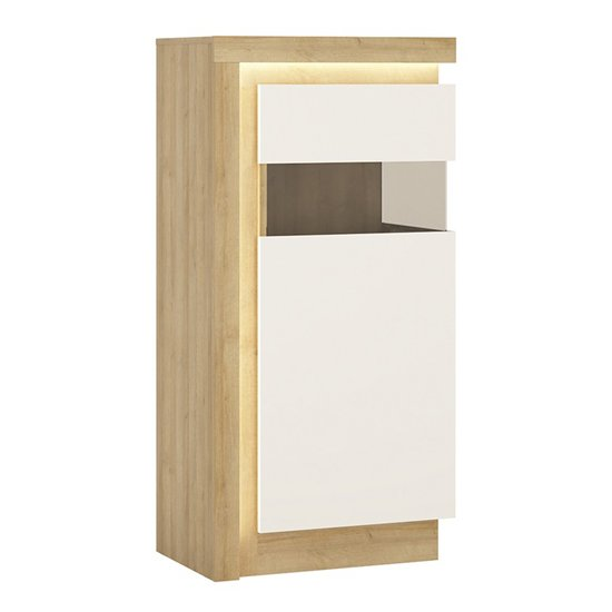 Lyco LED Right Handed Low Display Cabinet In Oak White Gloss