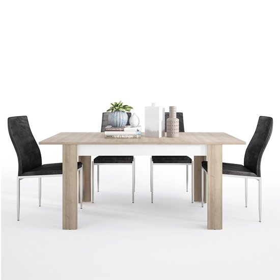 View Lyco medium wooden extending dining table and 4 mexa black chair