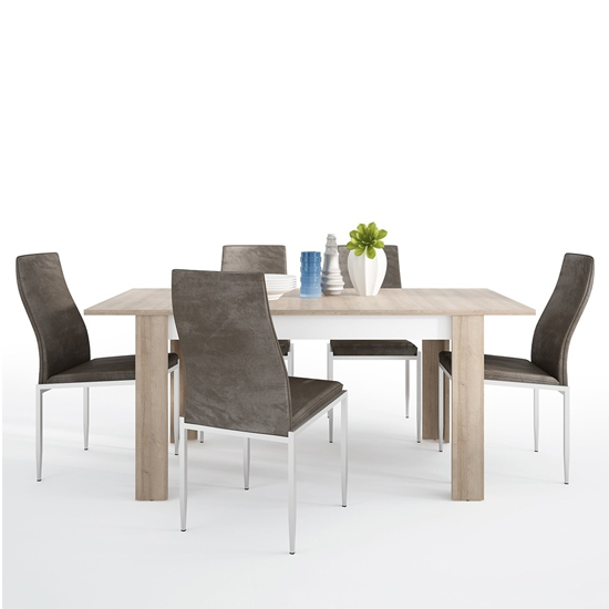 Lyco Medium Wooden Extending Dining Table And 4 Mexa Brown Chair