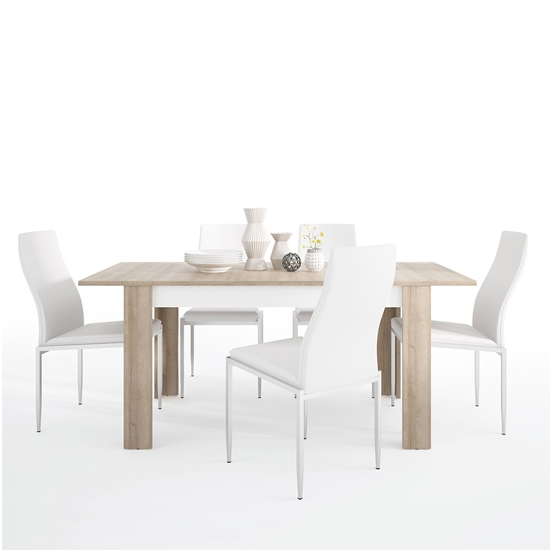 View Lyco medium wooden extending dining table and 4 mexa white chair