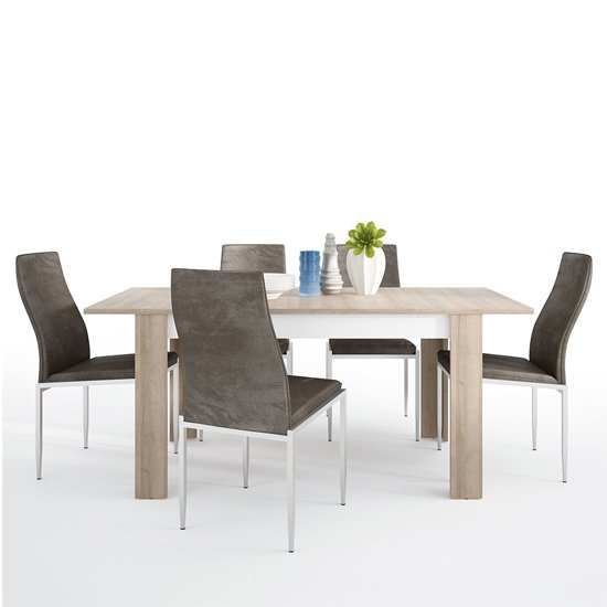 View Lyco medium wooden extending dining table and 6 mexa brown chair