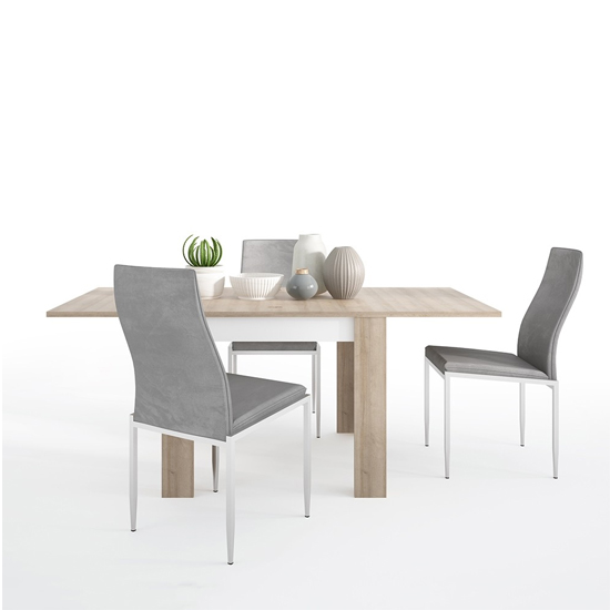 Lyco Small Wooden Extending Dining Table And 4 Mexa Grey Chairs
