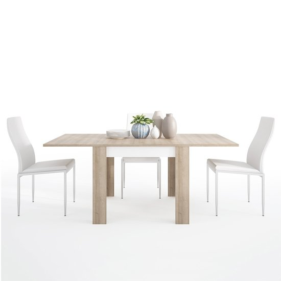 Lyco Small Wooden Extending Dining Table And 4 Mexa White Chairs