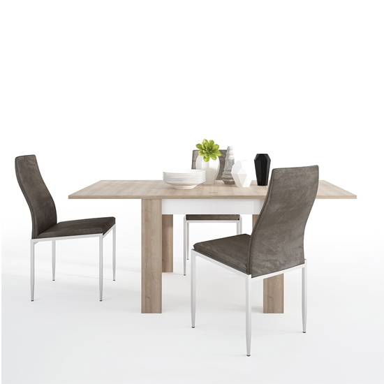 Lyco Small Wooden Extending Dining Table And 6 Mexa Brown Chairs