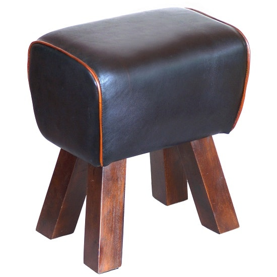 Lydia Stool In Black Leather Finish With Wooden Legs