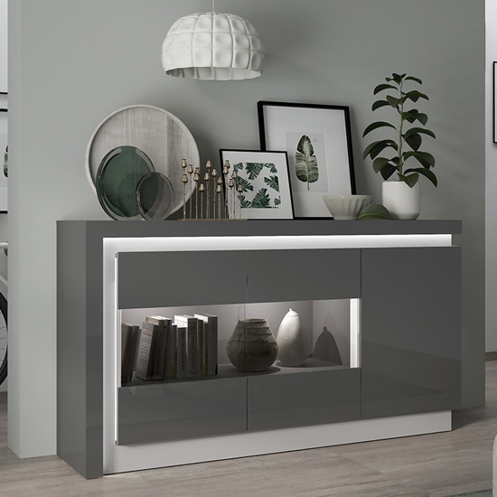 Lyco LED 3 Door Glazed Sideboard In Platinum Light Grey Gloss