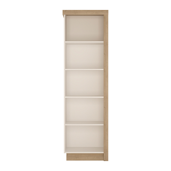 Lyco Left Handed Bookcase In Riviera Oak And White High Gloss_2