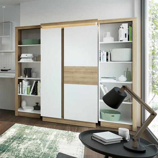 Lyco Left Handed Bookcase In Riviera Oak And White High Gloss_3