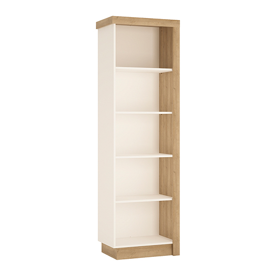 Lyco Left Handed Bookcase In Riviera Oak And White High Gloss_1