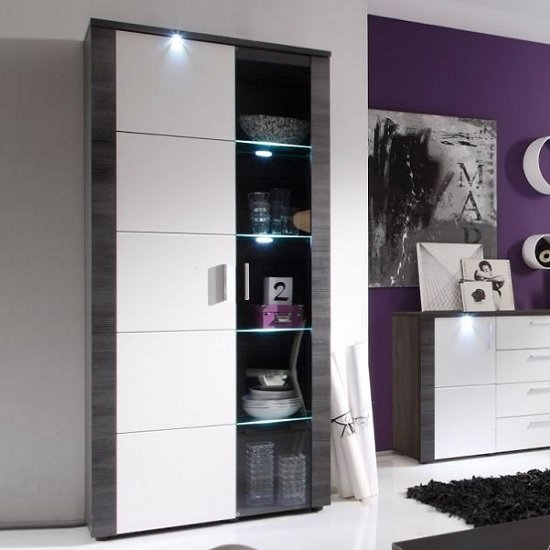 Lynton Display Cabinet In Grey Ash With White Fronts And LED