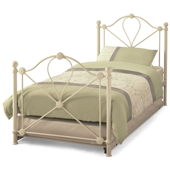 Lyon Metal Single Bed With Guest Bed In Ivory