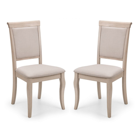 Lyon Pale Oak Upholstered Dining Chair In Pair