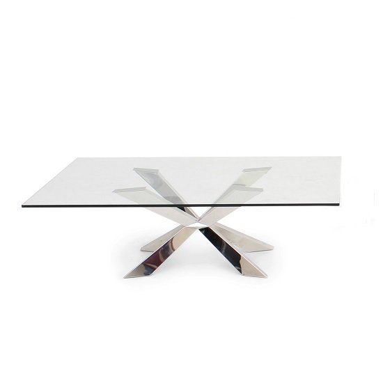 Lyon Glass Coffee Table In Clear With Stainless Steel Base