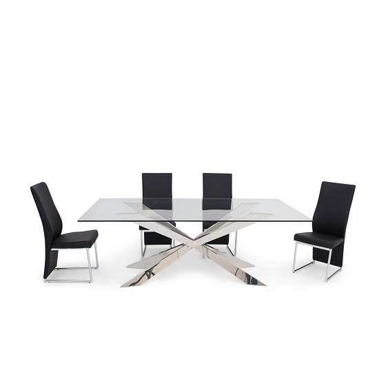 Lyon Glass Dining Table In Clear With 6 Riga Black Chairs