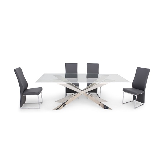 Lyon glass dining table in clear with 6 riga grey chairs for Furniture in riga