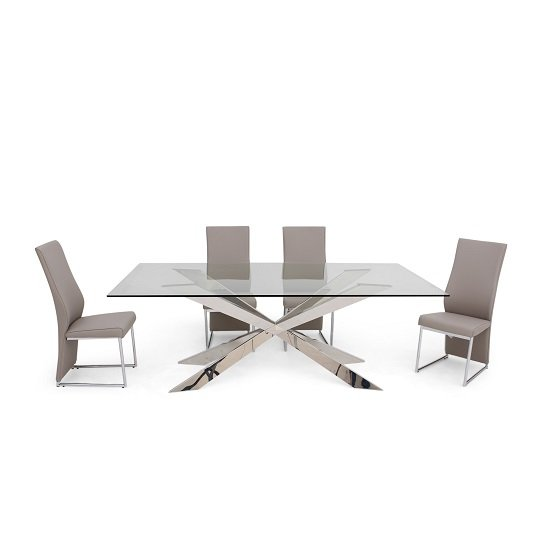 Lyon Glass Dining Table In Clear With 6 Riga Taupe Chairs