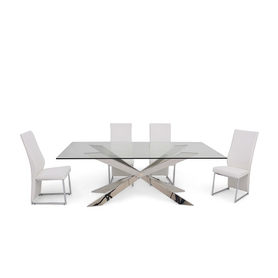 Lyon glass dining table in clear with 6 riga white chairs for Furniture in riga