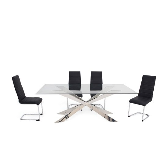 Lyon Glass Dining Table In Clear With 6 Vegas Black Chairs