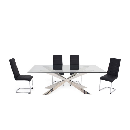 Lyon Glass Dining Table In Clear With 6 Vegas Black Chairs : lyonglassdiningsetvegasblackchairs from www.furnitureinfashion.net size 550 x 550 jpeg 43kB