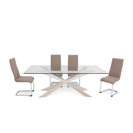 Lyon Glass Dining Table In Clear With 6 Vegas Taupe Chairs