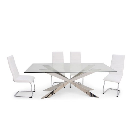 Lyon Glass Dining Table In Clear With 6 Vegas White Chairs