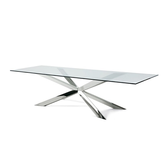Lyon Glass Dining Table In Clear With Stainless Steel Base