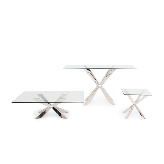 Lyon Glass Coffee Table In Clear With Stainless Steel Base_2