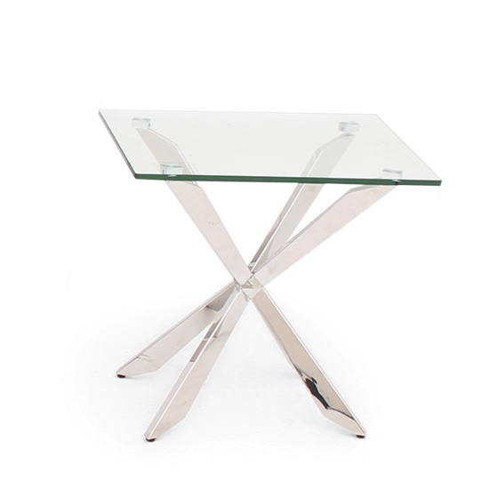 Lyon Glass Side Table In Clear With Stainless Steel Base