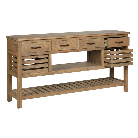Lyox Wooden 6 Drawers Sideboard In Aged Grey_5