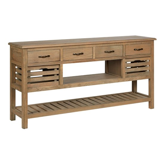 Lyox Wooden 6 Drawers Sideboard In Aged Grey