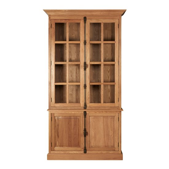 Lyox Wooden Display Cabinet With 3 Upper Shelves In Natural_2