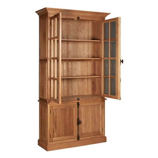 Lyox Wooden Display Cabinet With 3 Upper Shelves In Natural_3