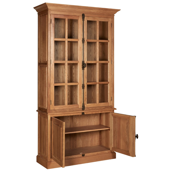 Lyox Wooden Display Cabinet With 3 Upper Shelves In Natural_4
